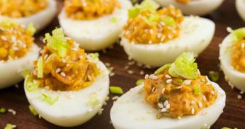Bacon and Kimchi Deviled Eggs