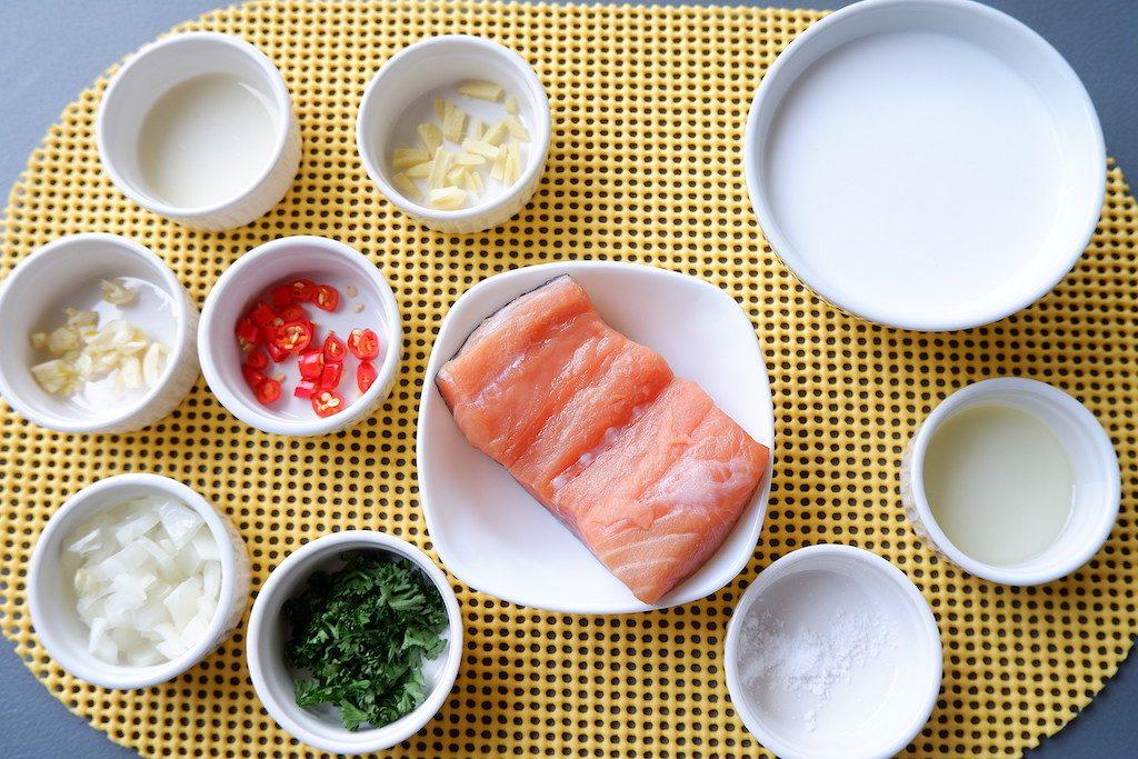 Prepare the ingredients for keto creamy coconut lemon salmon recipe
