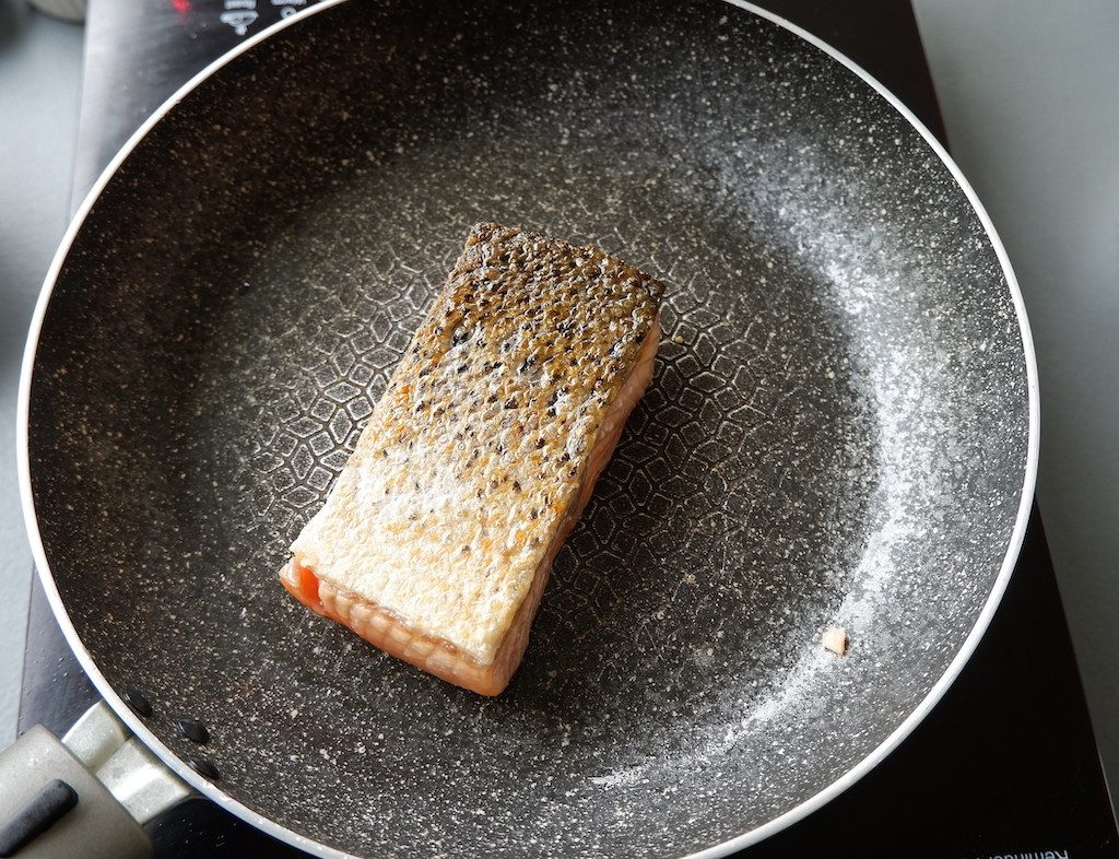 Cook both sides of the salmon
