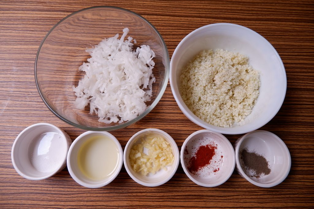 prepare the ingredients for Radish & Cauliflower Hash Brown with Bacon