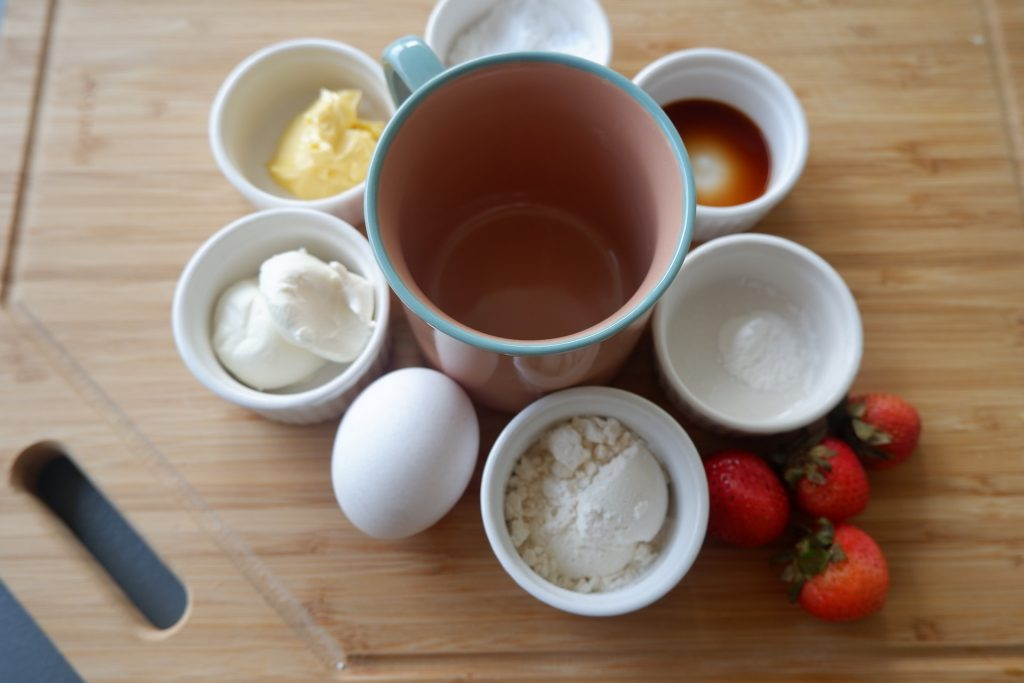 prepare all the ingredients for keto berry mug cake