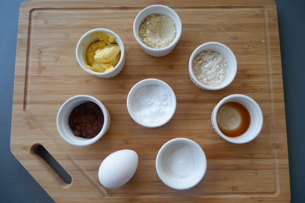 prepare all the ingredients for keto chocolate mug cake