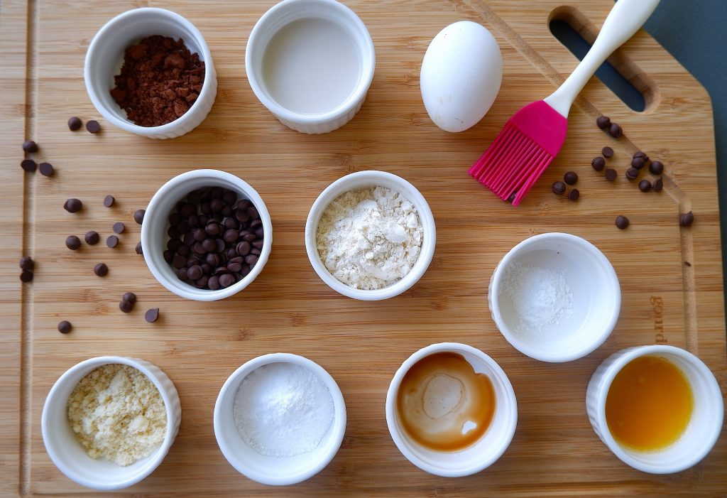 prepare all the ingredients for keto microwave double chocolate muffin