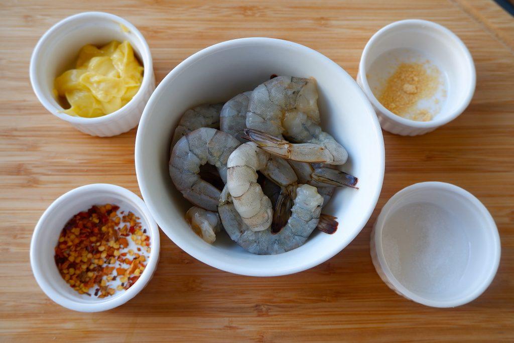 Prepare the ingredients for keto microwave garlic butter shrimp
