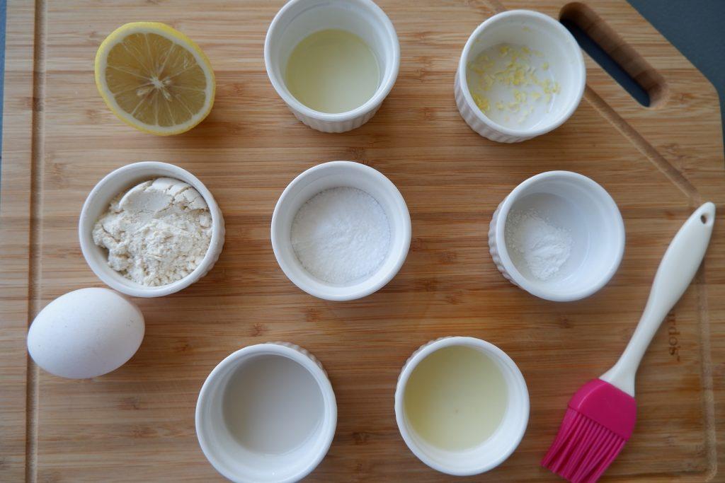 prepare the ingredients for keto lemon mug cake