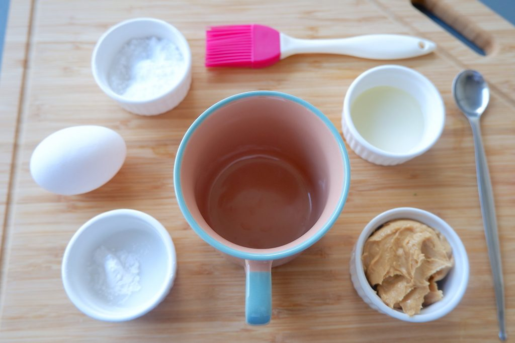 prepare all the ingredients for keto peanut butter mug bread