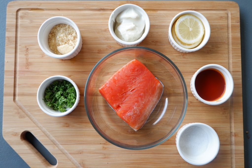 prepare all the ingredients needed for quick keto microwave salmon recipe